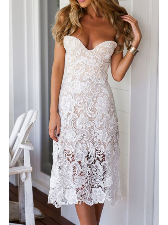 outfit Strapless Solid Color Lace Sleeveless Dress - WHITE M