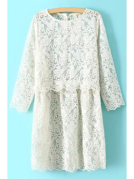 online Solid Color Lace Long Sleeves Dress - OFF-WHITE M