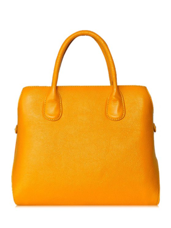 lady Rivets Solid Colir Tote Bag - YELLOW