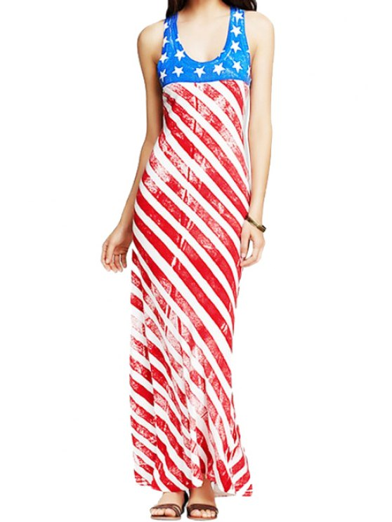 new American Flag Print Sundress - RED WITH WHITE XS