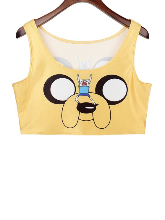 shop Scoop Neck Cartoon Print Crop Top - DEEP YELLOW ONE SIZE(FIT SIZE XS TO M)