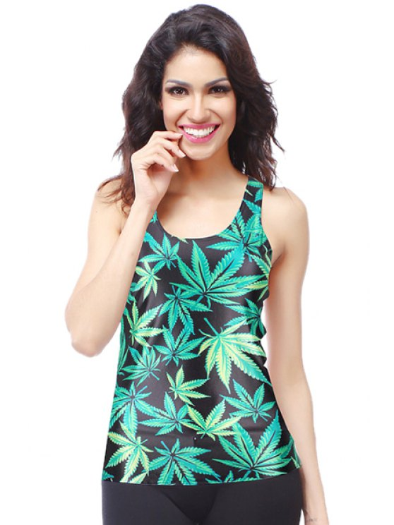 latest Green Leaves Print Sleeveless Tank Top - BLACK AND GREEN ONE SIZE(FIT SIZE XS TO M)