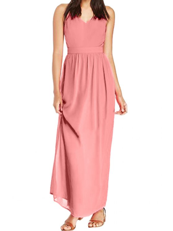shop Spaghetti Straps Solid Color Chiffon Dress - PINK S