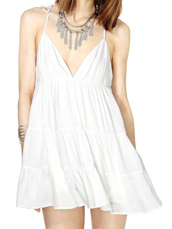 hot White Ruffled Spaghetti Straps Dress - WHITE M