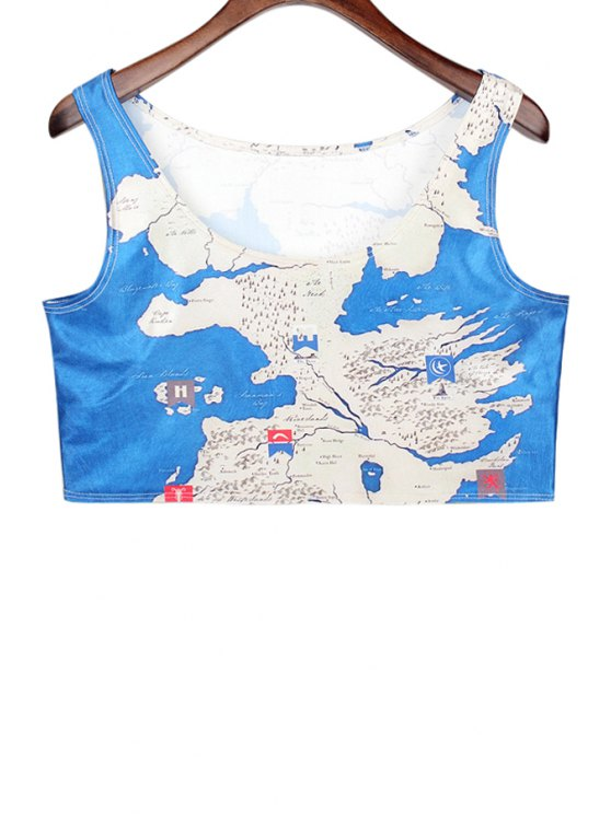 best Map Print Sleeveless Crop Top - BLUE AND WHITE ONE SIZE(FIT SIZE XS TO M)
