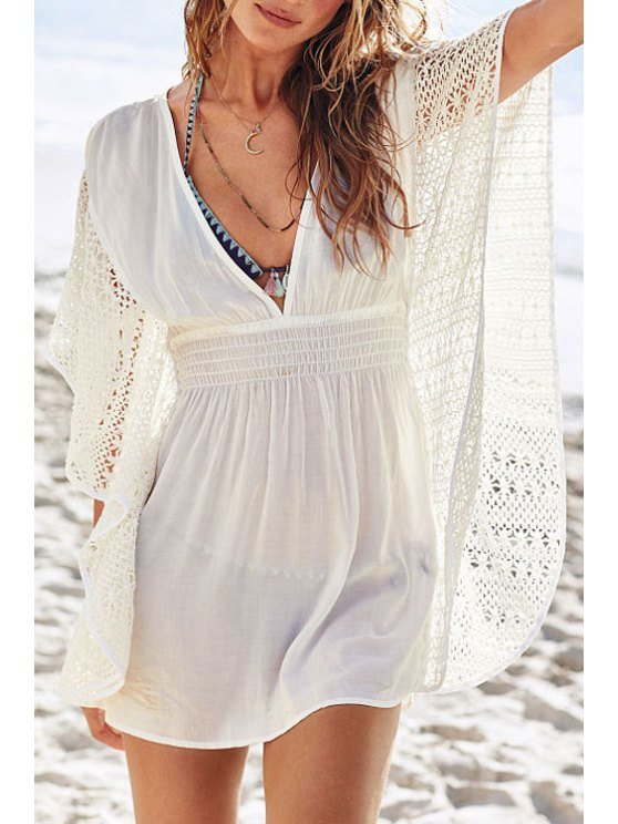 shop Beige Deep V Neck Crochet Lace Dress - WHITE M