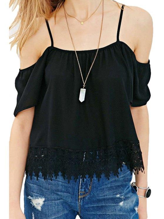 online Black Spaghetti Strap Off The Shoulder Lace Blouse - BLACK L