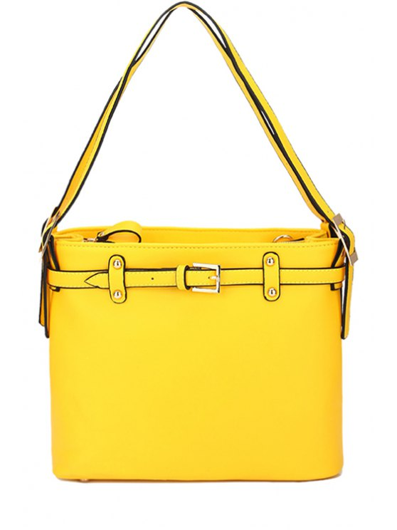shops Belt Buckle Solid Color Shoulder Bag - YELLOW