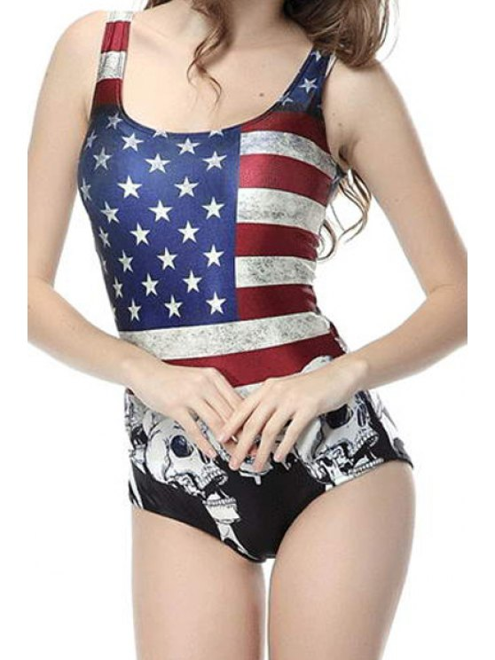 fashion American Flag Sleeveless One-Piece Swimwear - COLORMIX M