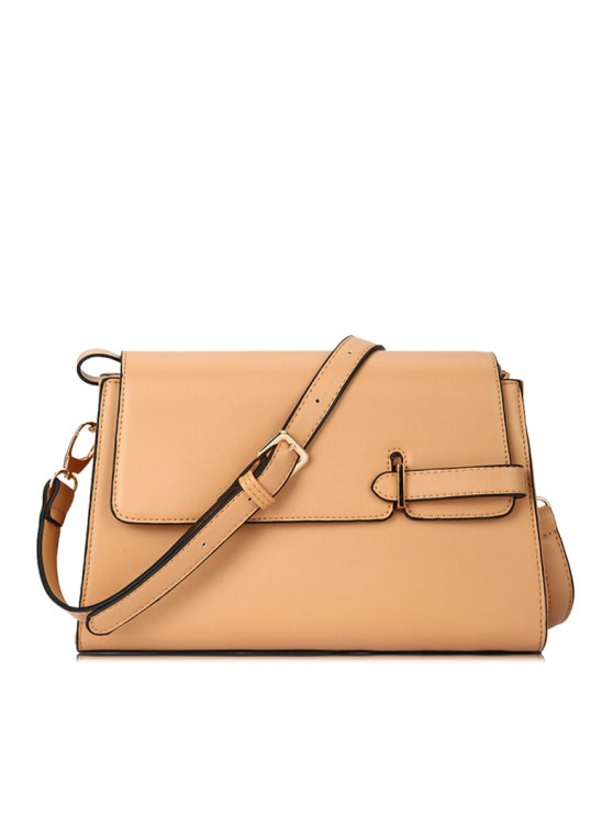 lady Solid Color Belt Crossbody Bag - APRICOT