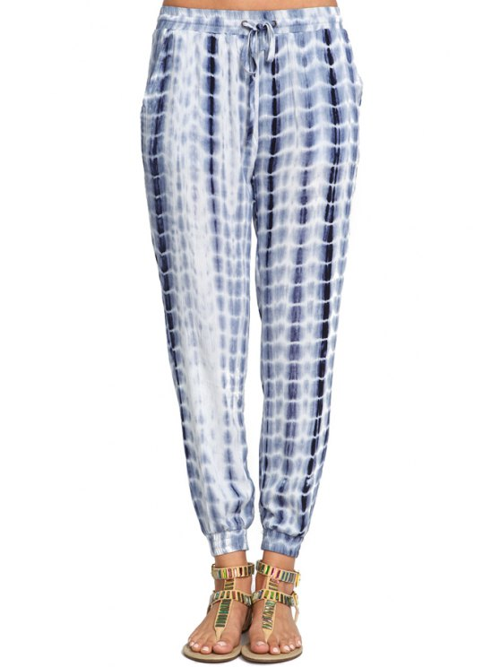fashion Blue Drawstring Waist Pant - BLUE S