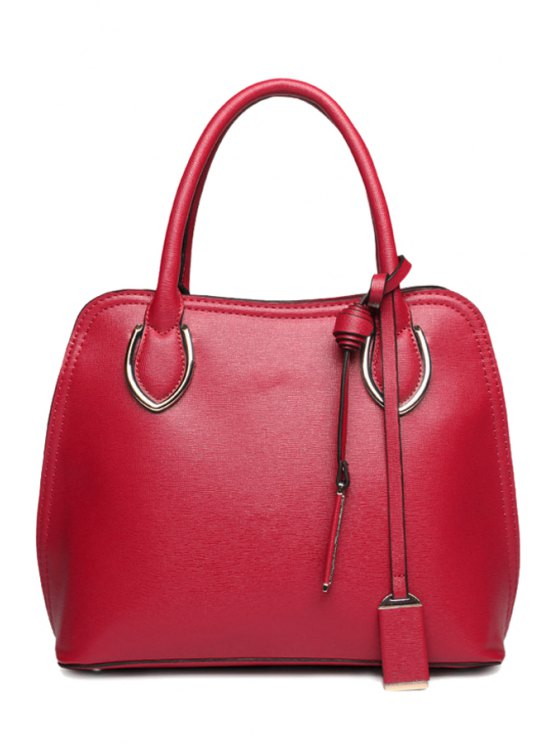 chic PU Leather Pendant Tote Bag - WINE RED