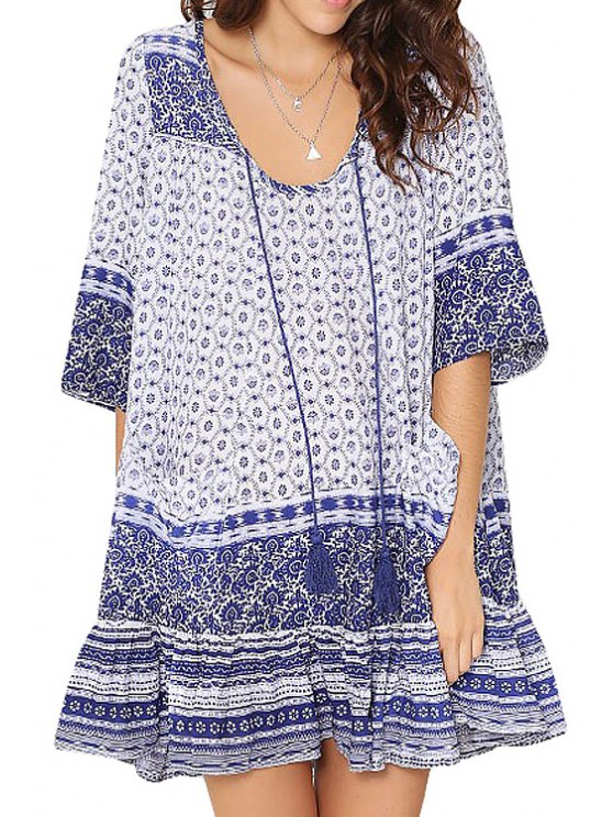 new Blue Half Sleeve Tribal Print Dress - PURPLISH BLUE S