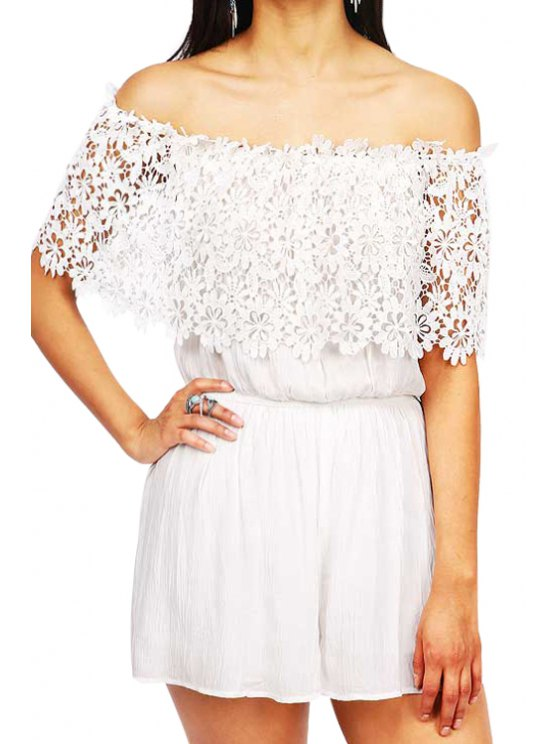 outfit White Off The Shoulder Lace Romper - WHITE S