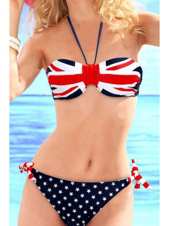 shops National Flag Print Halter Bikini Set - DEEP BLUE S