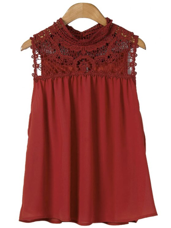 shop Crochet Spliced Sleeveless Blouse - CLARET S