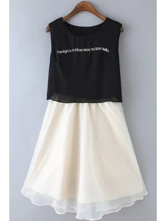 buy Color Block Letter Print Chiffon Sundress - WHITE AND BLACK S