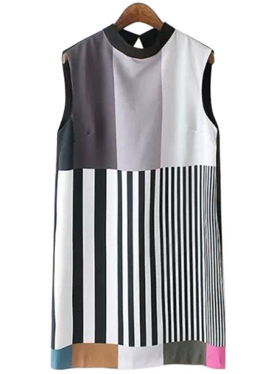 unique Sleeveless Striped Spliced Dress - STRIPE S