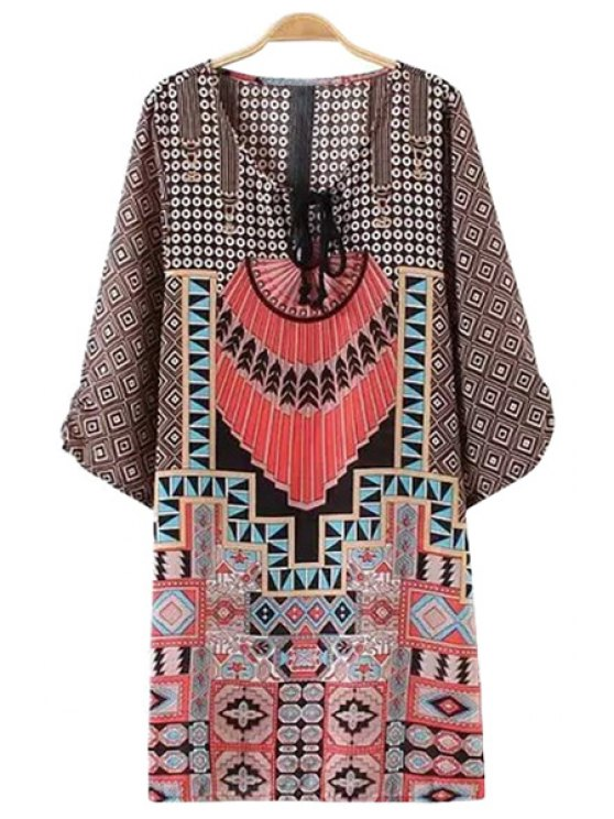 trendy Colorful Print Tie-Up 3/4 Sleeve Dress - COFFEE S