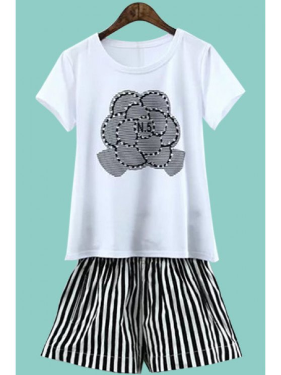 sale Print Short Sleeve T-Shirt and Striped Shorts Suit - WHITE AND BLACK M