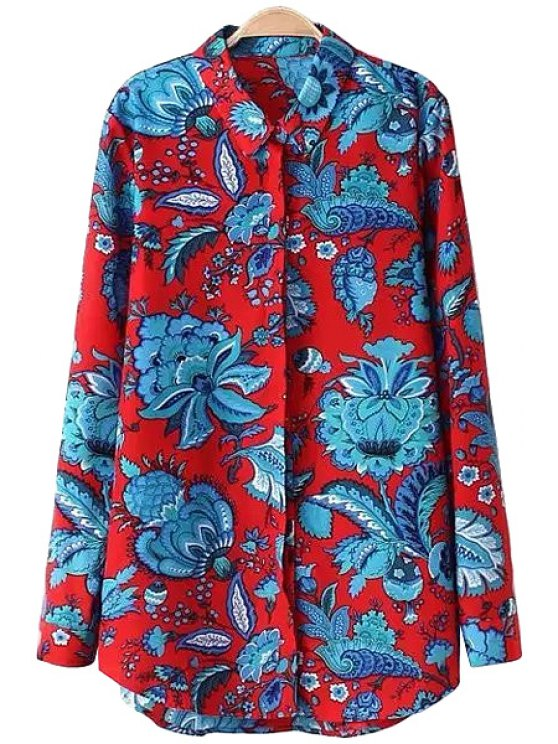 buy Polo Collar Blue Floral Print Shirt - BLUE AND RED S
