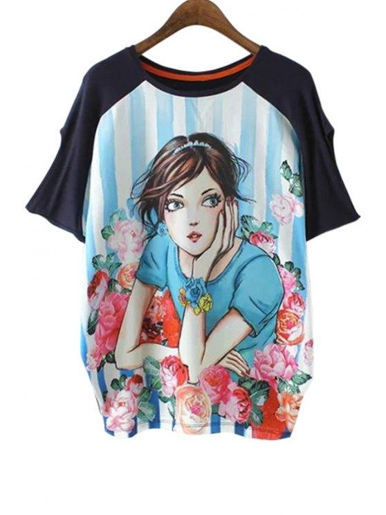 trendy Cartoon Girl Pattern Short Sleeve T-Shirt - COLORMIX S