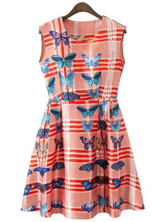 lady Butterfly Print Stripe Sleeveless Dress - RED S