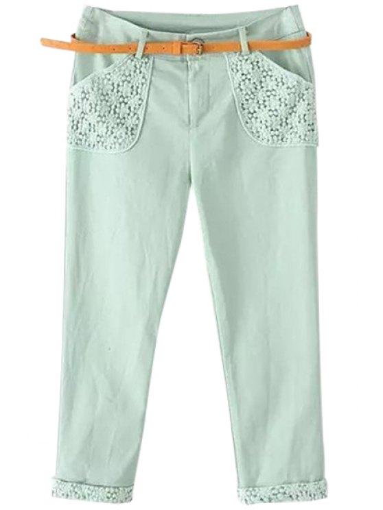 women Floral Embroidery Spliced Capri Pants - GREEN M