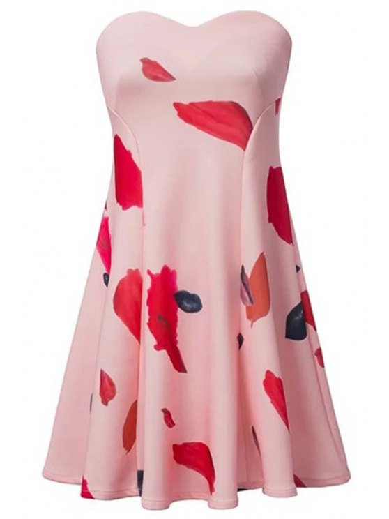 outfits Strapless Lips Print Sleeveless Dress - PINK S