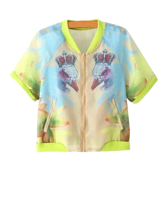 buy Bird Print Short Sleeve Jacket - COLORMIX S