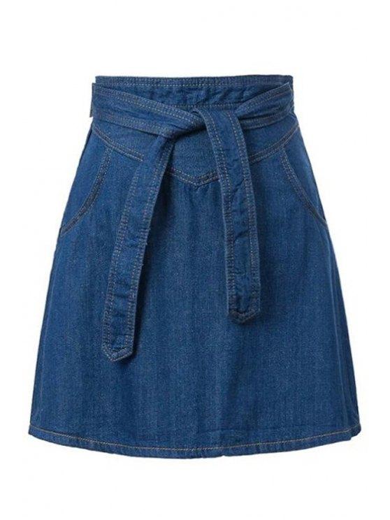 women's Solid Color Denim Belt Skirt - DEEP BLUE S