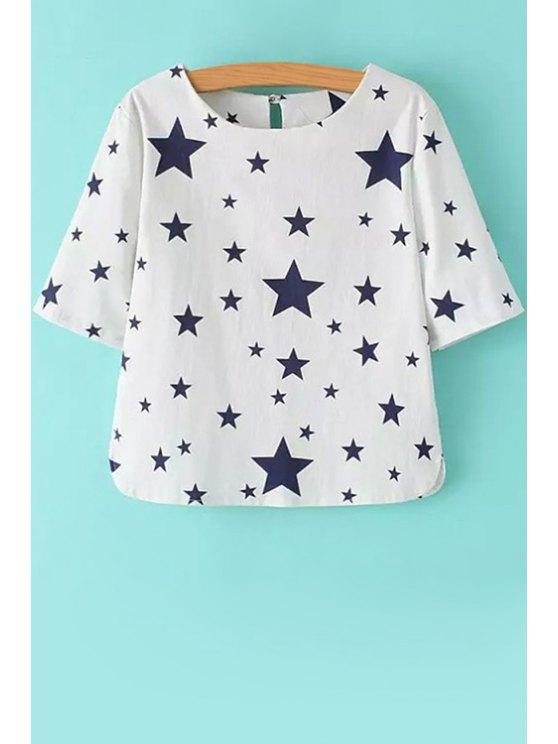 online Full Star Print Short Sleeve T-Shirt - WHITE S