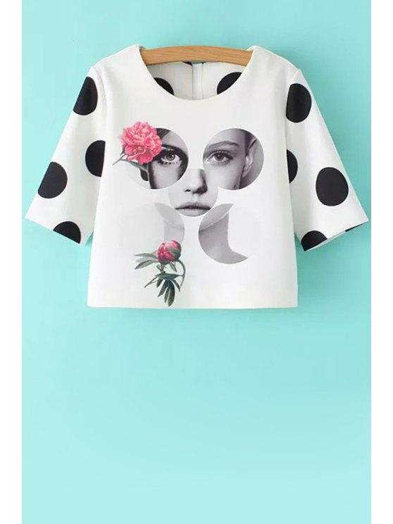 fashion Figure Print Polka Dot T-Shirt - WHITE S