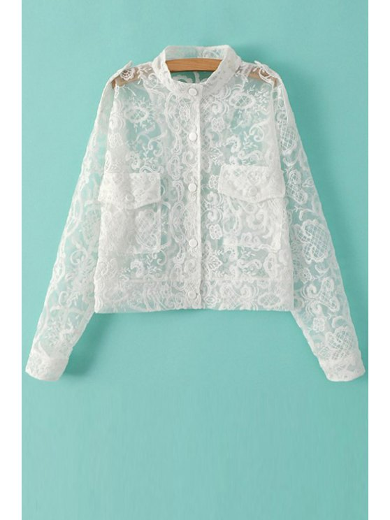 fashion Stand-Up Collar See-Through Lace Coat - WHITE S