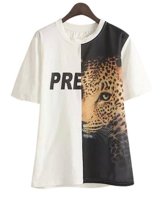buy Leopard Print Spliced Short Sleeve T-Shirt - WHITE M