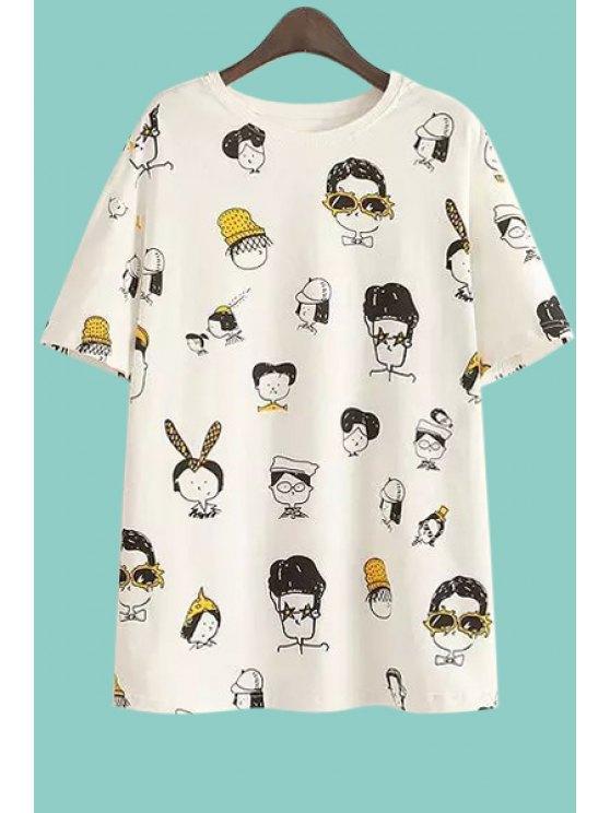 best Short Sleeves Full Figure Print T-Shirt - WHITE M