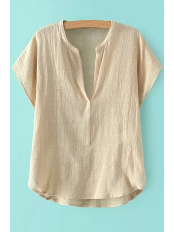 women's V-Neck Solid Color Short Sleeve Shirt - LIGHT KHAKI S