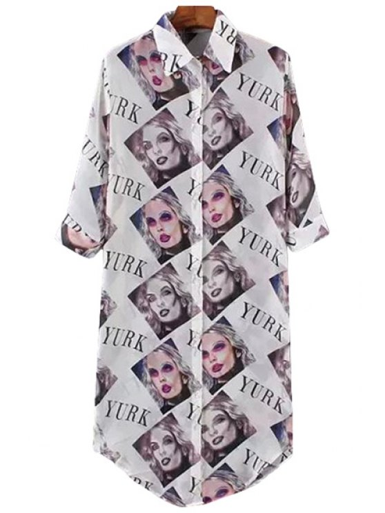 lady Letter Figure Print Half Sleeve Shirt - WHITE ONE SIZE(FIT SIZE XS TO M)