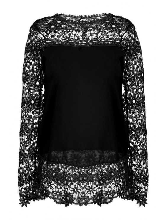 online Lace Splicing Solid Color Openwork Blouse - BLACK S