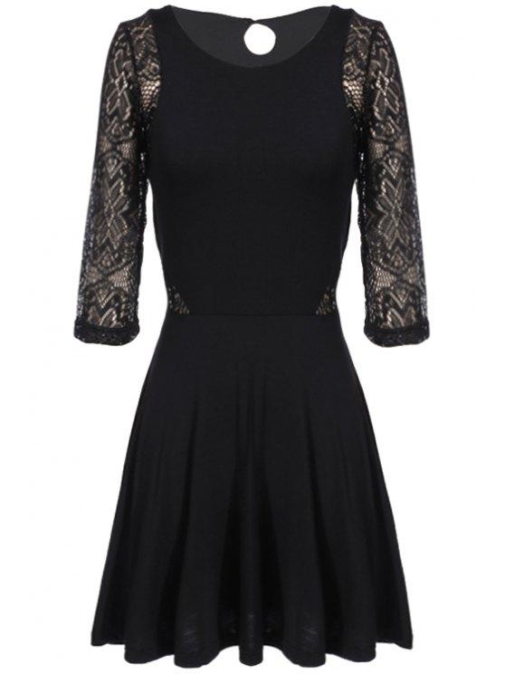 fancy Lace Splicing Openwork 3/4 Sleeve Dress - BLACK M