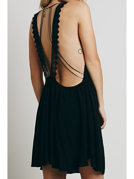 shops Black Sleeveless With Lace Dress - BLACK S