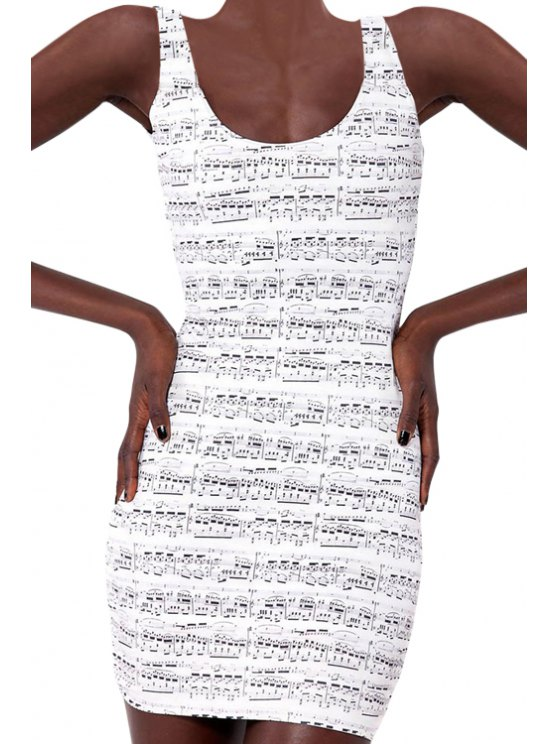 unique Musical Note Print Sleeveless Dress - WHITE ONE SIZE(FIT SIZE XS TO M)