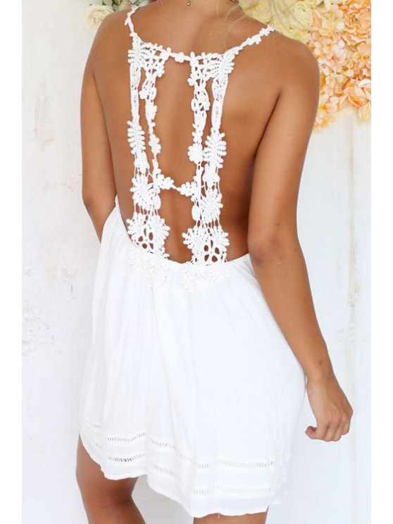 affordable Backless Floral Lace Splicing Sleeveless Dress - WHITE S