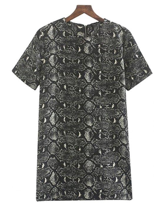 lady Snake Pattern Short Sleeve Dress - BLACK S