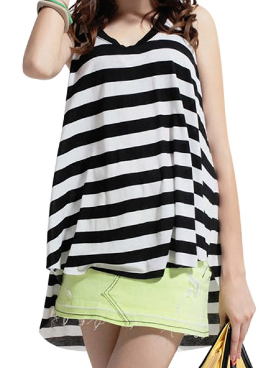 women's Stripe Back Slit Bowknot Asymmetrical Tank Top - WHITE AND BLACK ONE SIZE(FIT SIZE XS TO M)