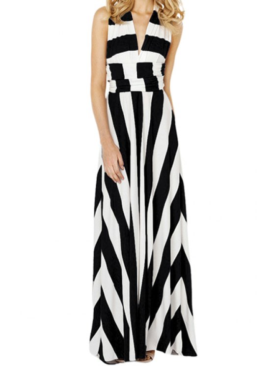 new Color Block Stripe Sleeveless Maxi Dress - WHITE AND BLACK S