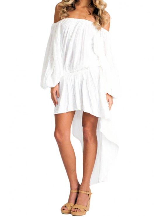 womens Slash Neck Solid Color Ruffle Asymmetrical Dress - WHITE XL
