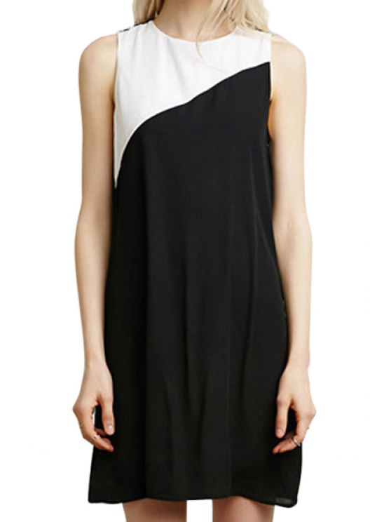 new White Black Splicing Sleeveless Dress - WHITE AND BLACK S
