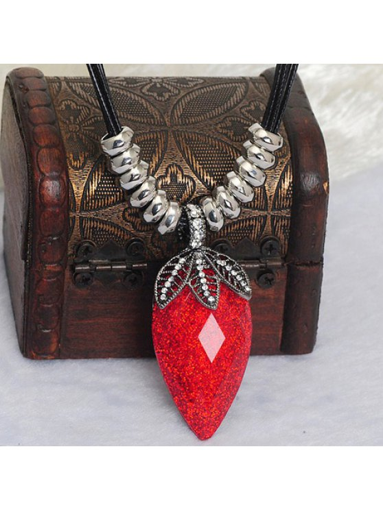 fashion Chic Faux Crystal Decorated Strawberry Shape Necklace For Women - RED