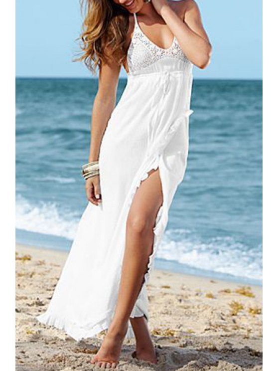 unique Lace Splicing Solid Color Slit Sleeveless Maxi Dress - WHITE S